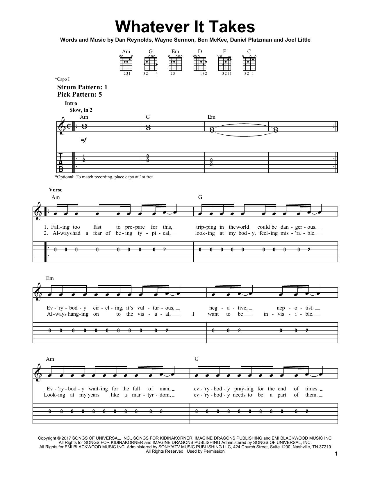 Imagine Dragons Whatever It Takes Sheet Music Printable Rock