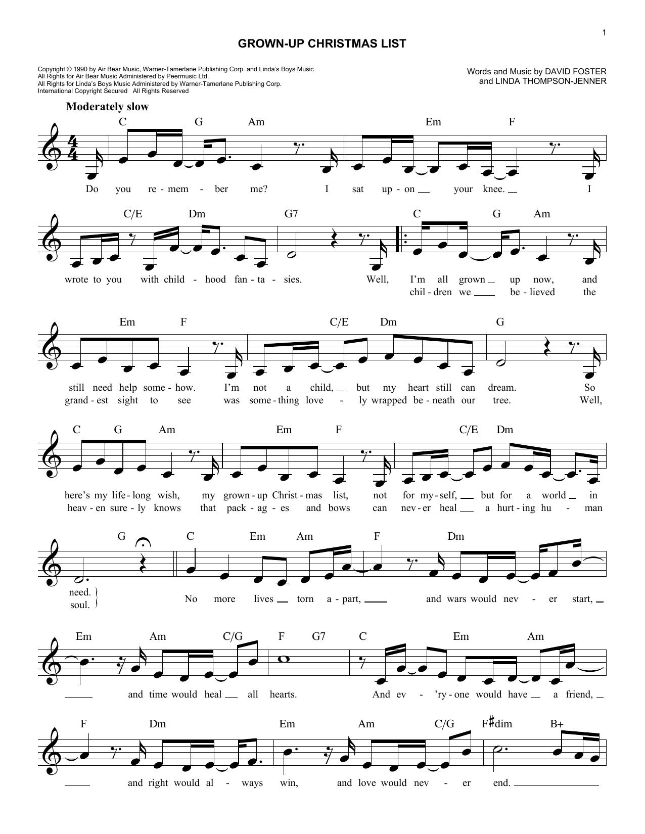 "Amy Grant ""Grown-Up Christmas List"" Sheet Music   Printable Christmas Notes Melody Line, Lyrics ..."
