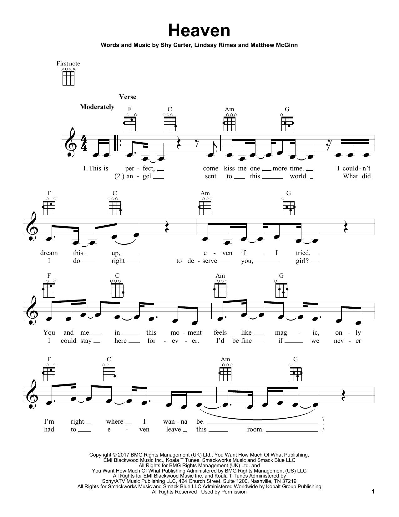Kane Brown Heaven Sheet Music Printable Pop Notes Ukulele