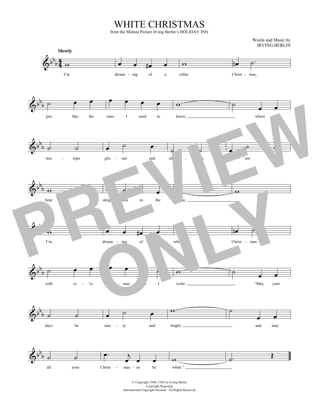White Christmas Sheet Music Score by Irving Berlin | Printable ...