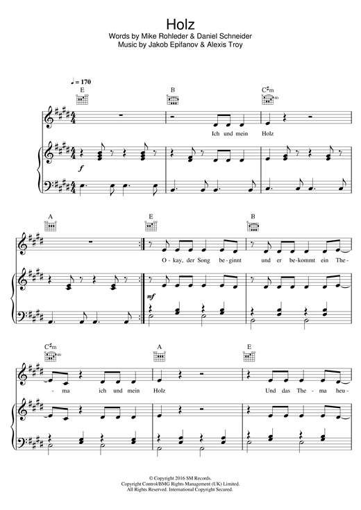 257ers Holz sheet music notes and chords. Download Printable PDF.