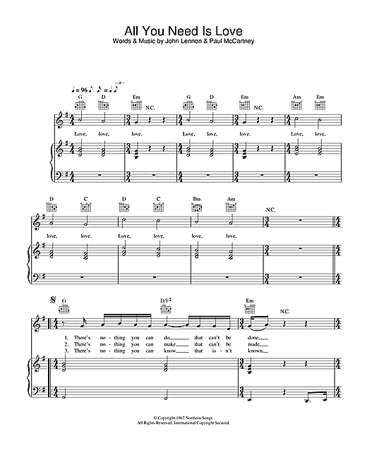 Lynden David Hall All You Need Is Love Sheet Music Notes Chords