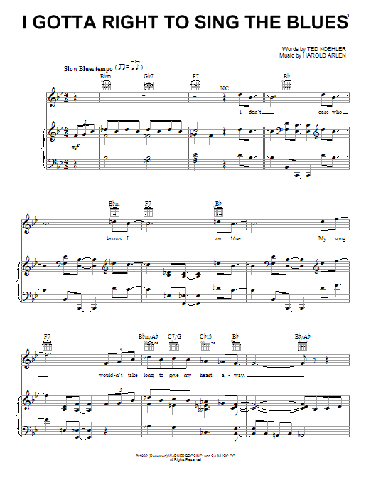Billie Holiday 'I Gotta Right To Sing The Blues' Sheet Music Notes, Chords  | Download Printable Piano, Vocal & Guitar (Right-Hand Melody) - SKU: 26797