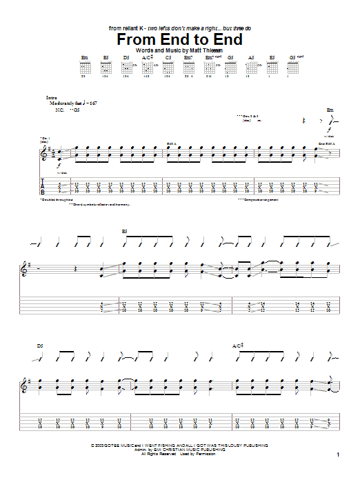 Relient K From End To End Sheet Music Notes Chords Printable