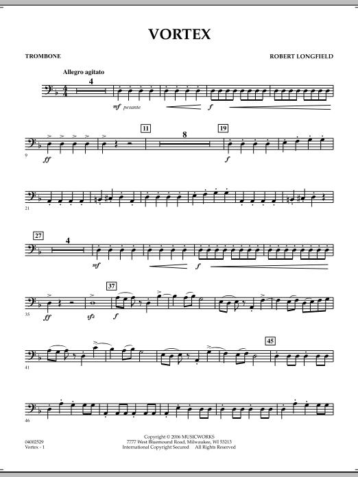 Robert Longfield 'Vortex - Trombone' Sheet Music Notes, Chords | Download  Printable Concert Band - SKU: 271827