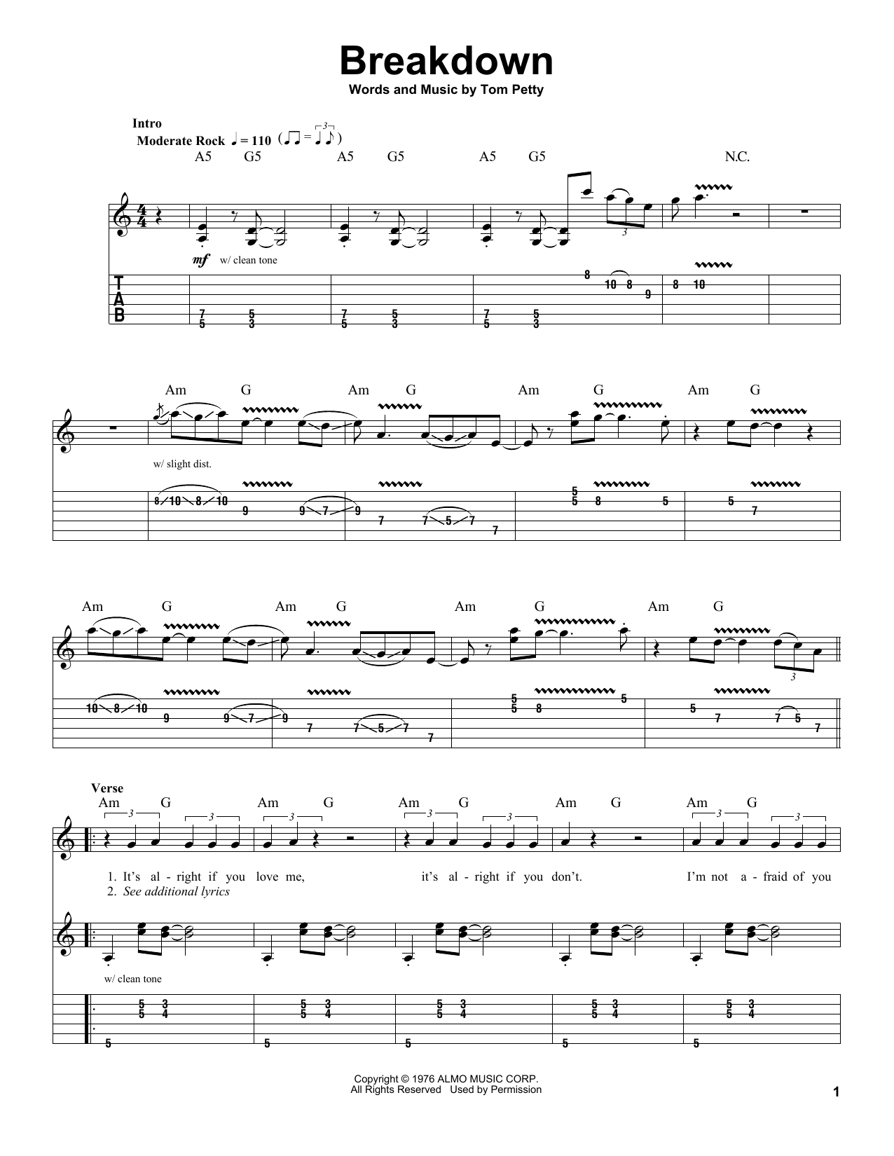 Tom Petty And The Heartbreakers Breakdown Sheet Music Notes