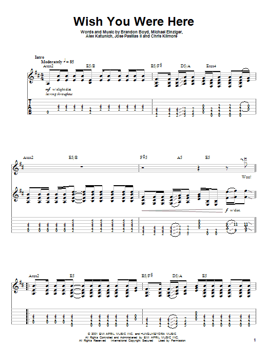 """Pink floyd """"wish you were here"""" sheet music (easy piano) in e."""