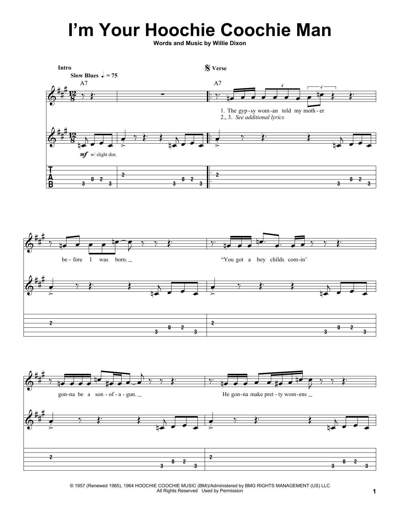 Muddy Waters Im Your Hoochie Coochie Man Sheet Music Notes