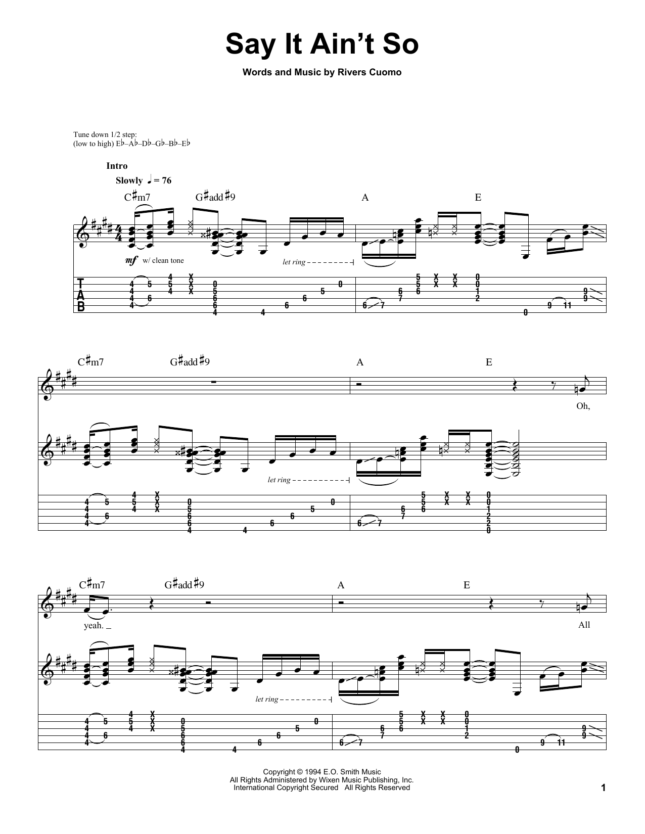 Weezer Say It Aint So Sheet Music Notes Chords Printable Pop