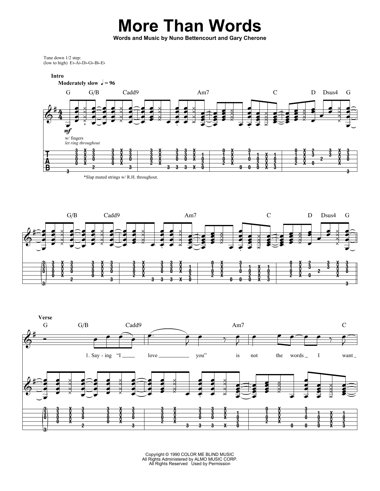 Extreme More Than Words Sheet Music Notes Chords Printable