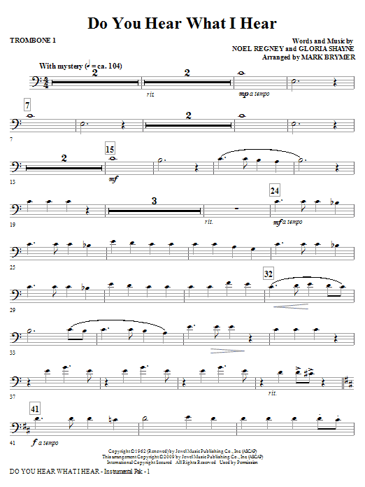 Mark Brymer 'Do You Hear What I Hear? - Trombone 1' Sheet Music Notes,  Chords | Download Printable Choral Instrumental Pak - SKU: 279112