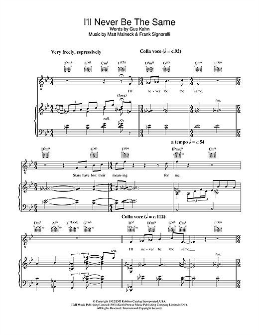 Diana Krall Ill Never Be The Same Sheet Music Notes Chords