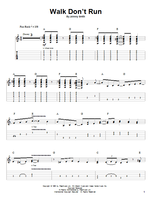The Ventures Walk Dont Run Sheet Music Notes Chords Printable