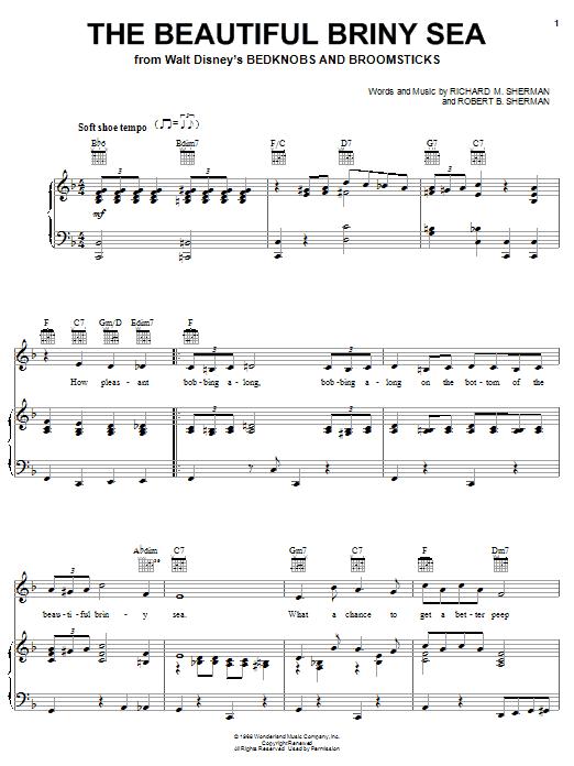 Sherman Brothers The Beautiful Briny Sea Sheet Music Notes Chords