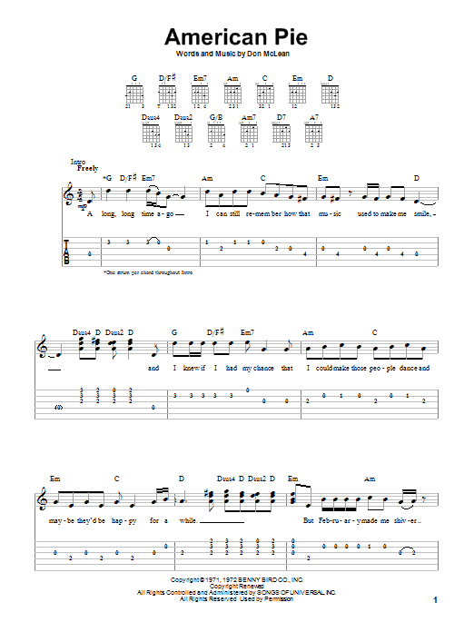 Don Mclean American Pie Sheet Music Notes Chords Printable