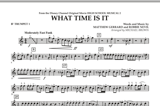 Michael Brown 'What Time Is It (from High School Musical 2) - Bb Trumpet 1'  Sheet Music Notes, Chords | Download Printable Concert Band - SKU: 287727