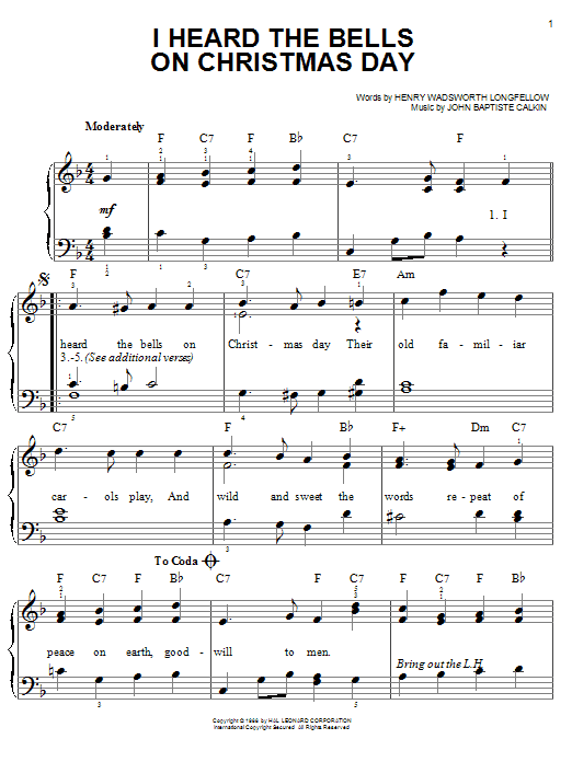 sheet music piano notes chords guitar tabs score transpose transcribe - I Heard The Bells On Christmas Day Chords