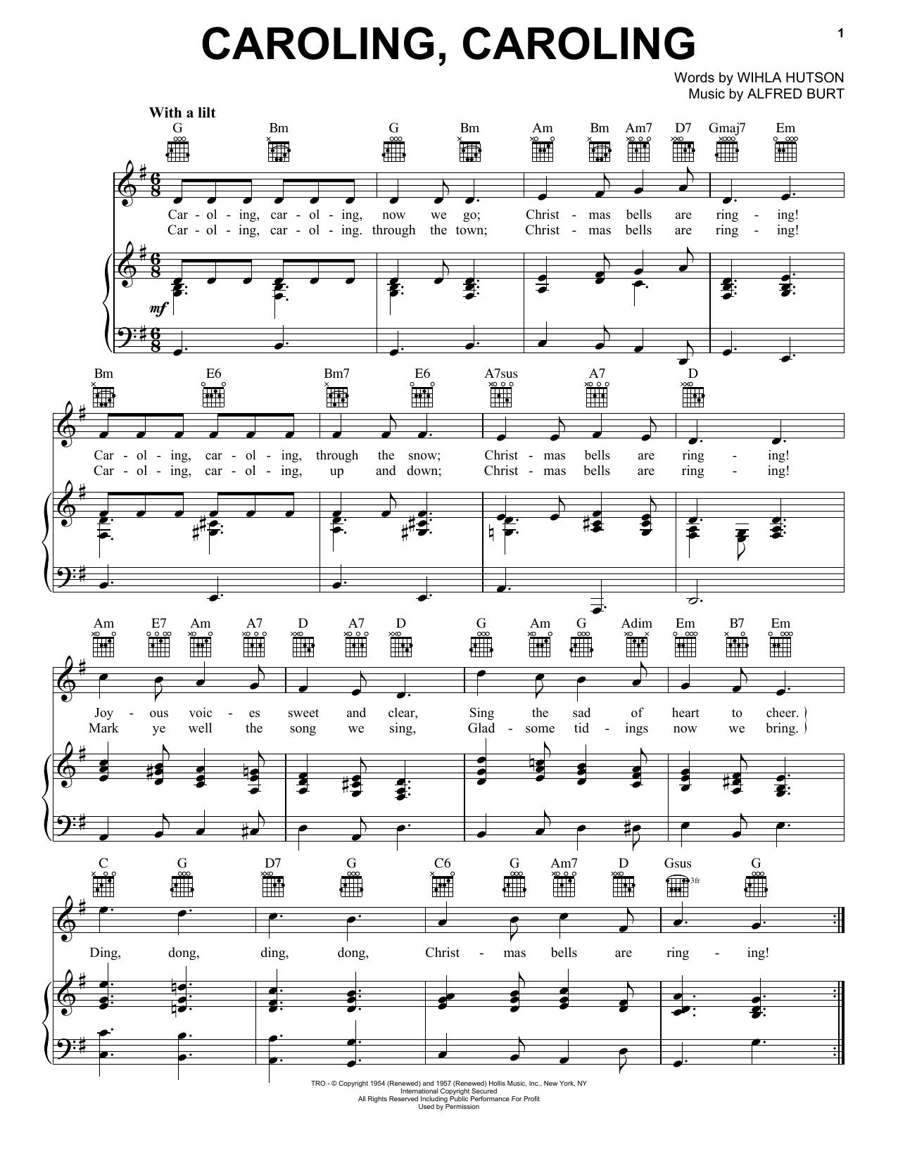 Nat King Cole Caroling Caroling Sheet Music Notes Chords