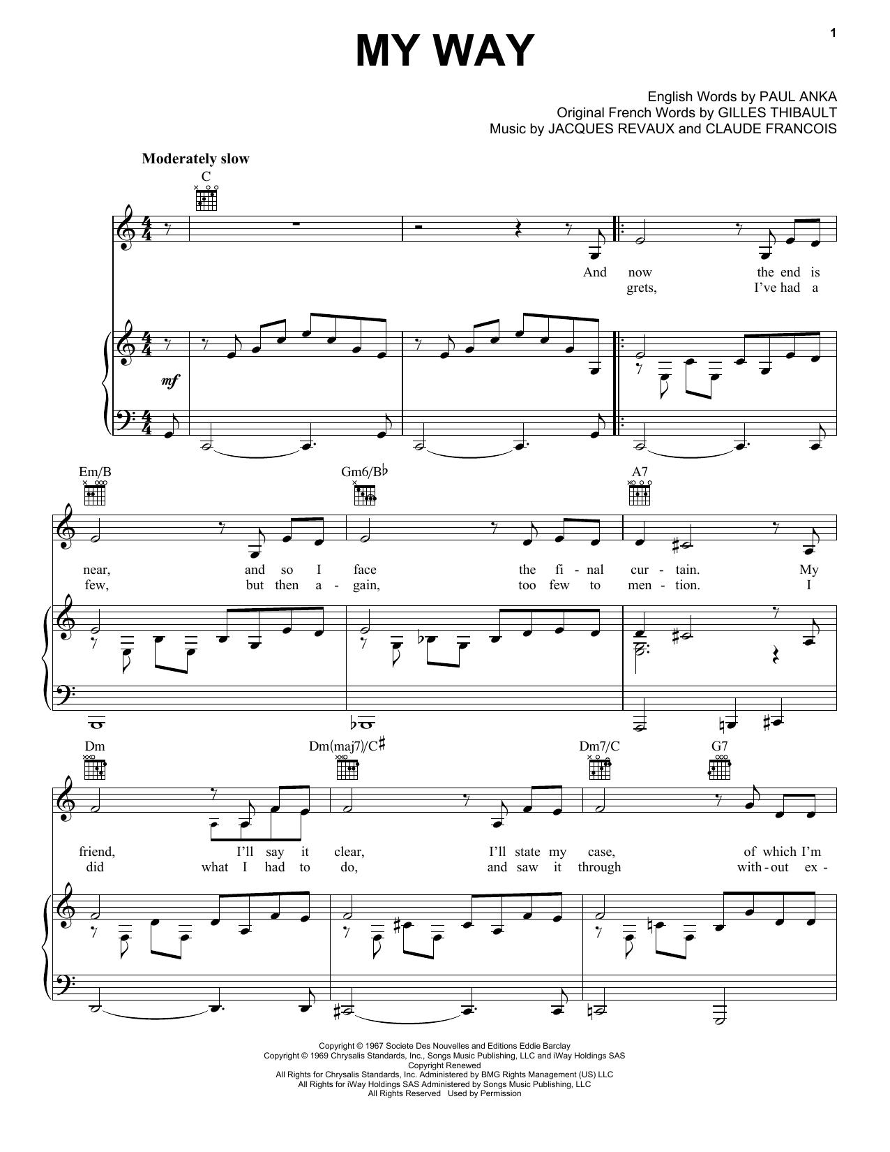 Elvis Presley My Way Sheet Music Notes Chords Printable Jazz