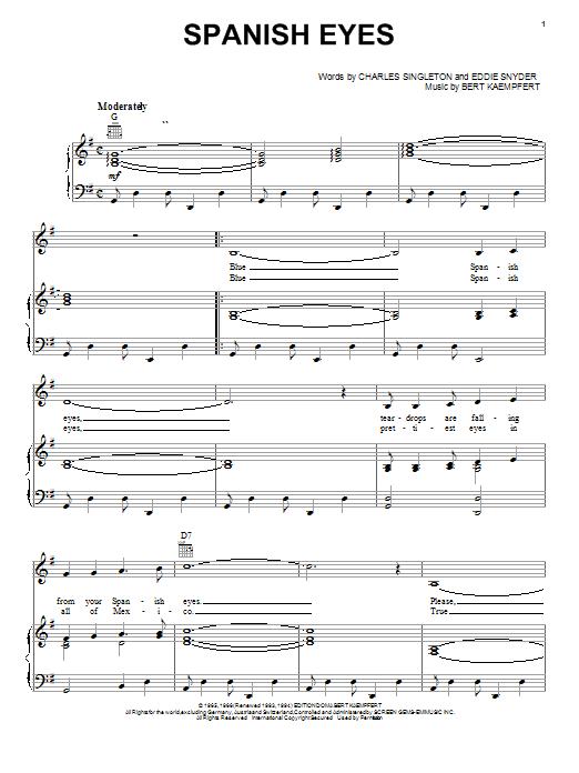 Al Martino Spanish Eyes Sheet Music Notes Chords Printable Jazz
