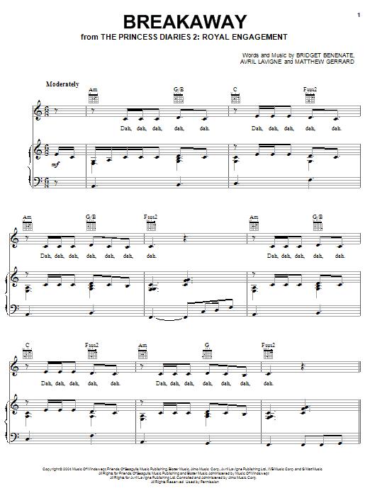 Kelly Clarkson Breakaway Sheet Music Notes Chords Printable Pop