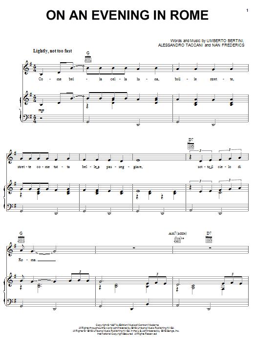 Dean Martin On An Evening In Rome Sheet Music Notes Chords
