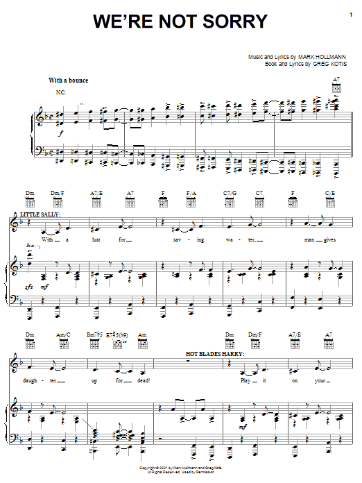 Urinetown Musical Were Not Sorry Sheet Music Notes Chords