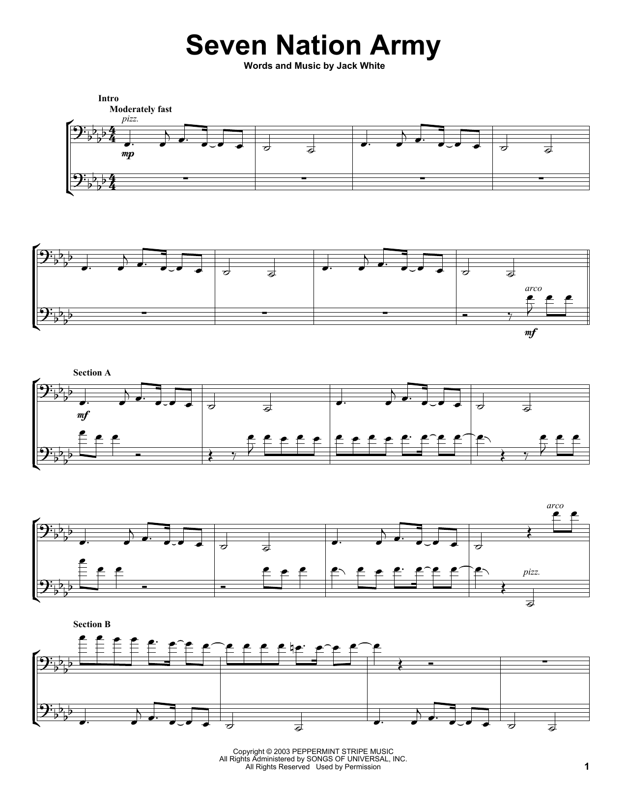 2Cellos Seven Nation Army sheet music notes and chords