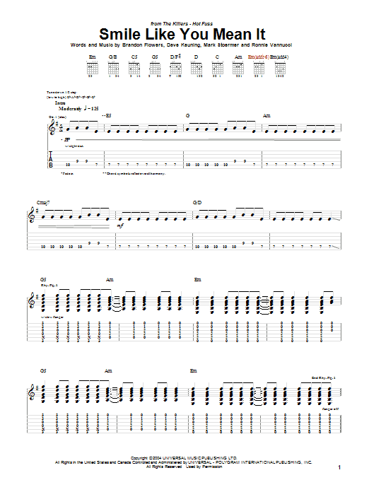The Killers Smile Like You Mean It Sheet Music Notes Chords