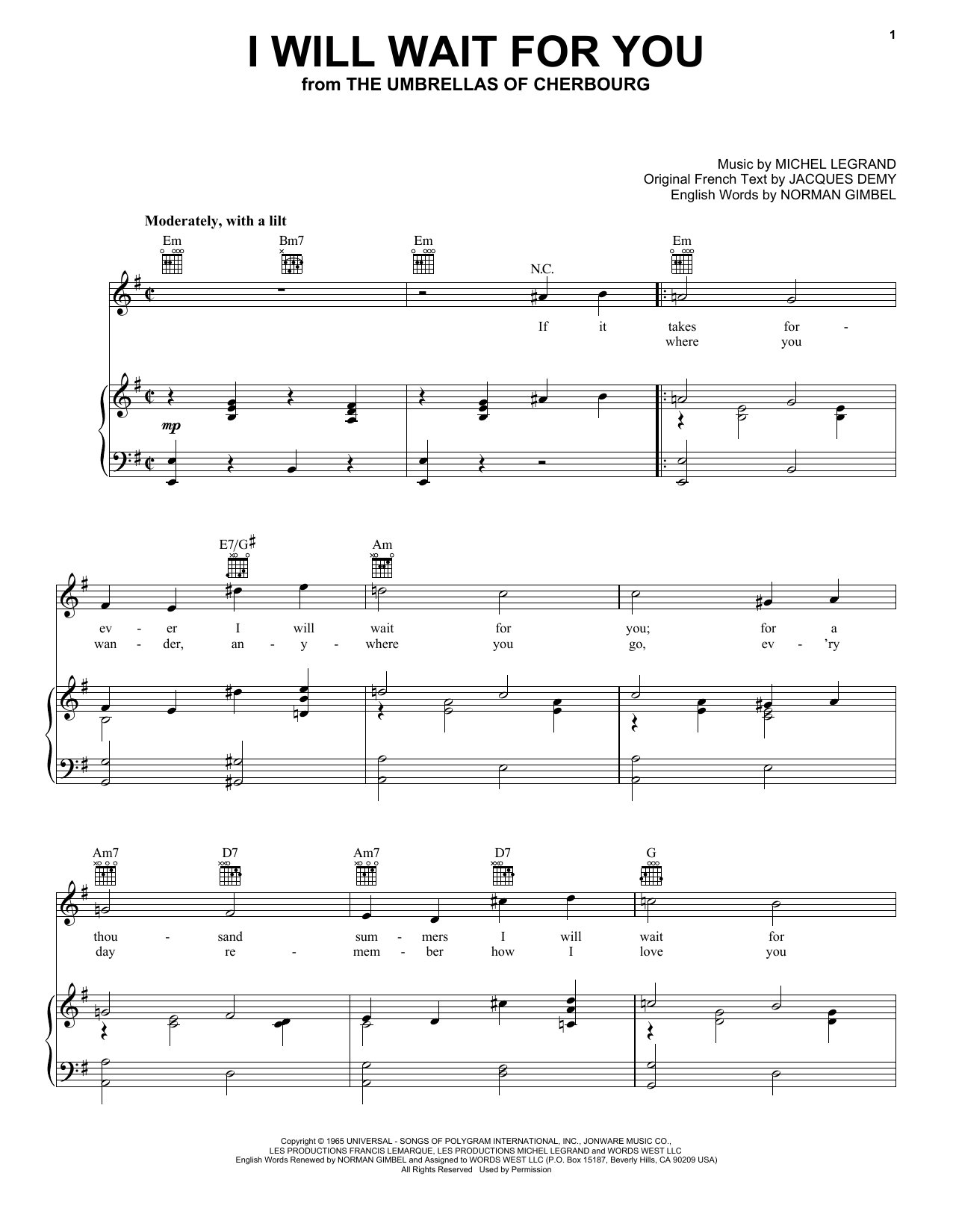 Norman Gimbel I Will Wait For You Sheet Music Notes Chords