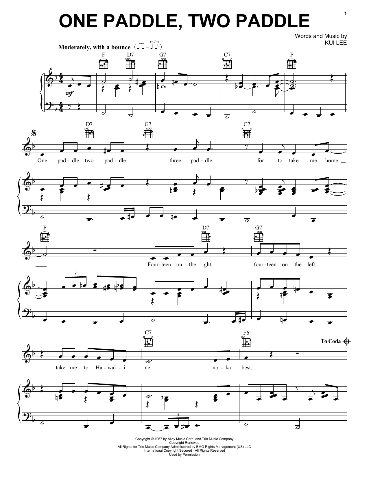 Don Ho One Paddle Two Paddle Sheet Music Notes Chords