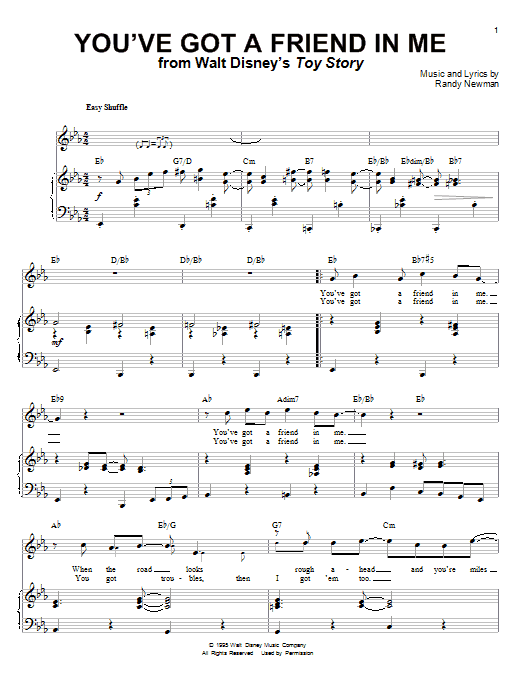 Randy Newman Youve Got A Friend In Me Sheet Music Notes Chords