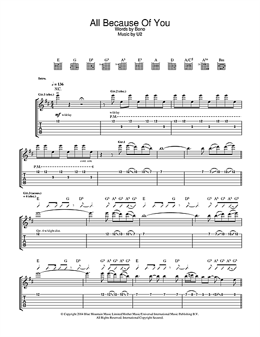 U2 All Because Of You Sheet Music Notes Chords Printable Rock