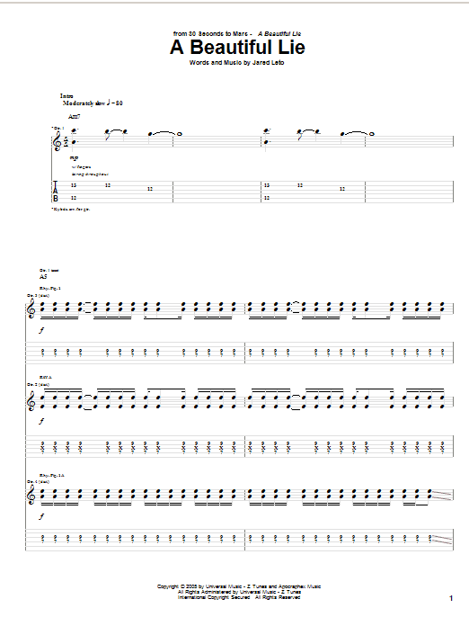30 Seconds To Mars A Beautiful Lie sheet music notes and chords