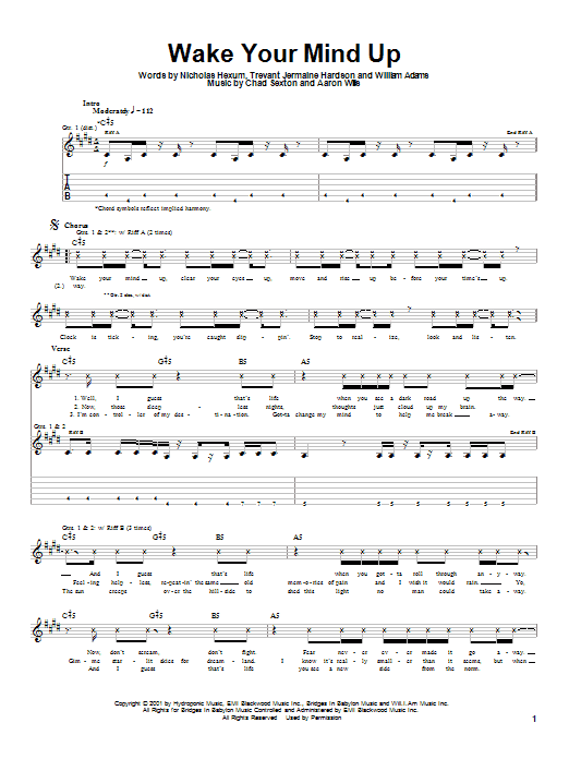311 Wake Your Mind Up sheet music notes and chords