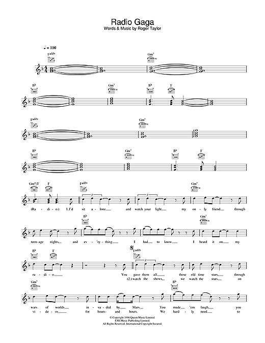 Queen Radio Ga Ga sheet music notes and chords