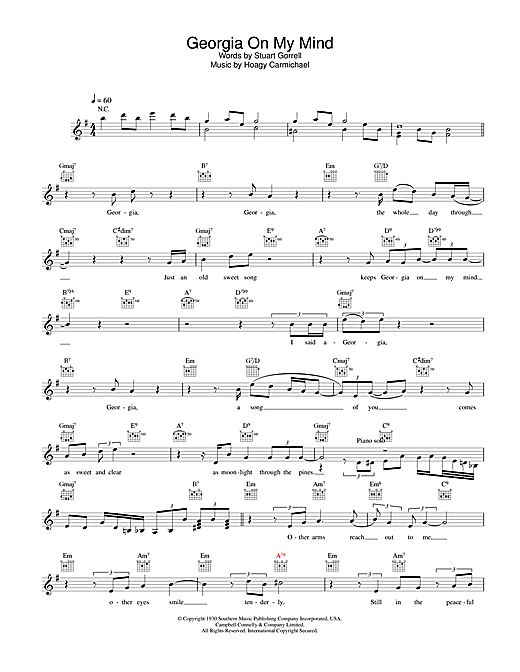 Ray Charles Georgia On My Mind Sheet Music Notes Chords