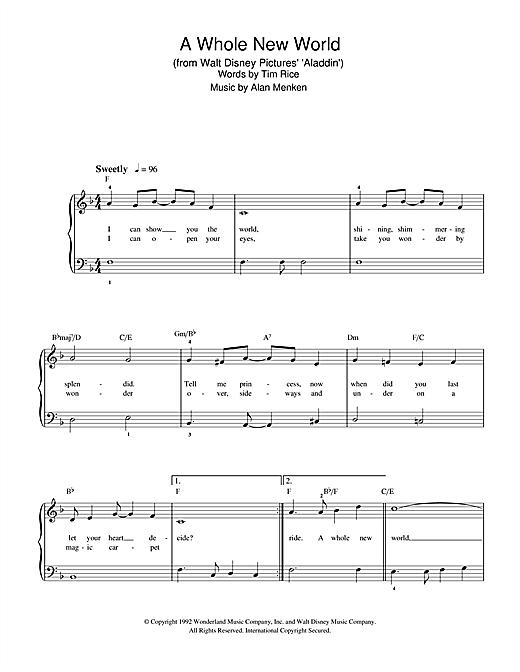 Alan Menken A Whole New World From Aladdin Sheet Music Notes