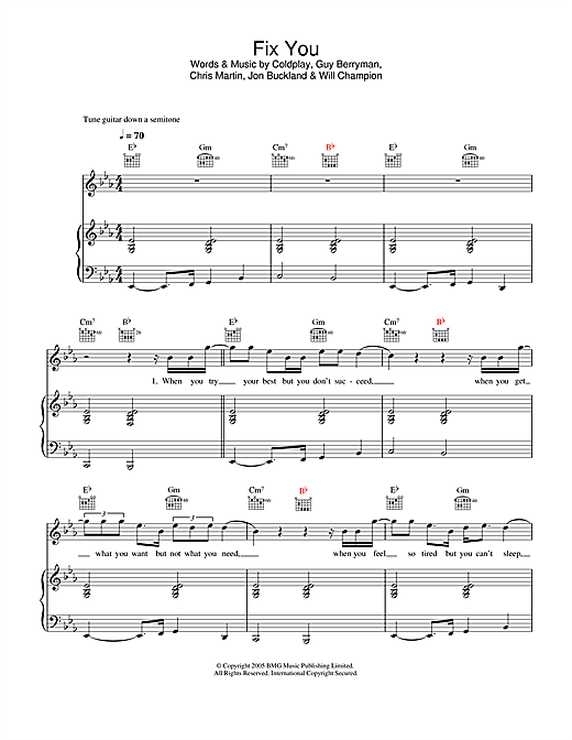 Coldplay Fix You Sheet Music Notes Chords Printable Rock Piano