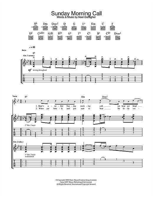 Oasis Sunday Morning Call Sheet Music Notes Chords Printable