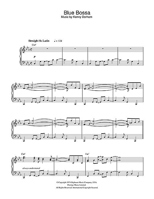 Blue bossa by kenny dorham piano sheet music | sheetdownload.