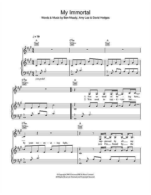 Evanescence My Immortal Sheet Music Notes Chords Printable Rock