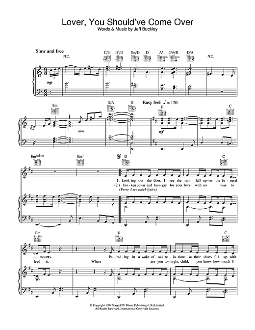 Jeff Buckley Lover You Shouldve Come Over Sheet Music Notes