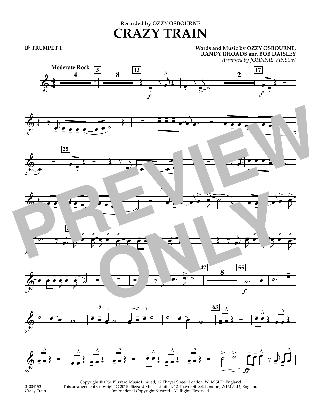 Johnnie Vinson 'Crazy Train - Bb Trumpet 1' Sheet Music Notes, Chords |  Download Printable Concert Band - SKU: 335799