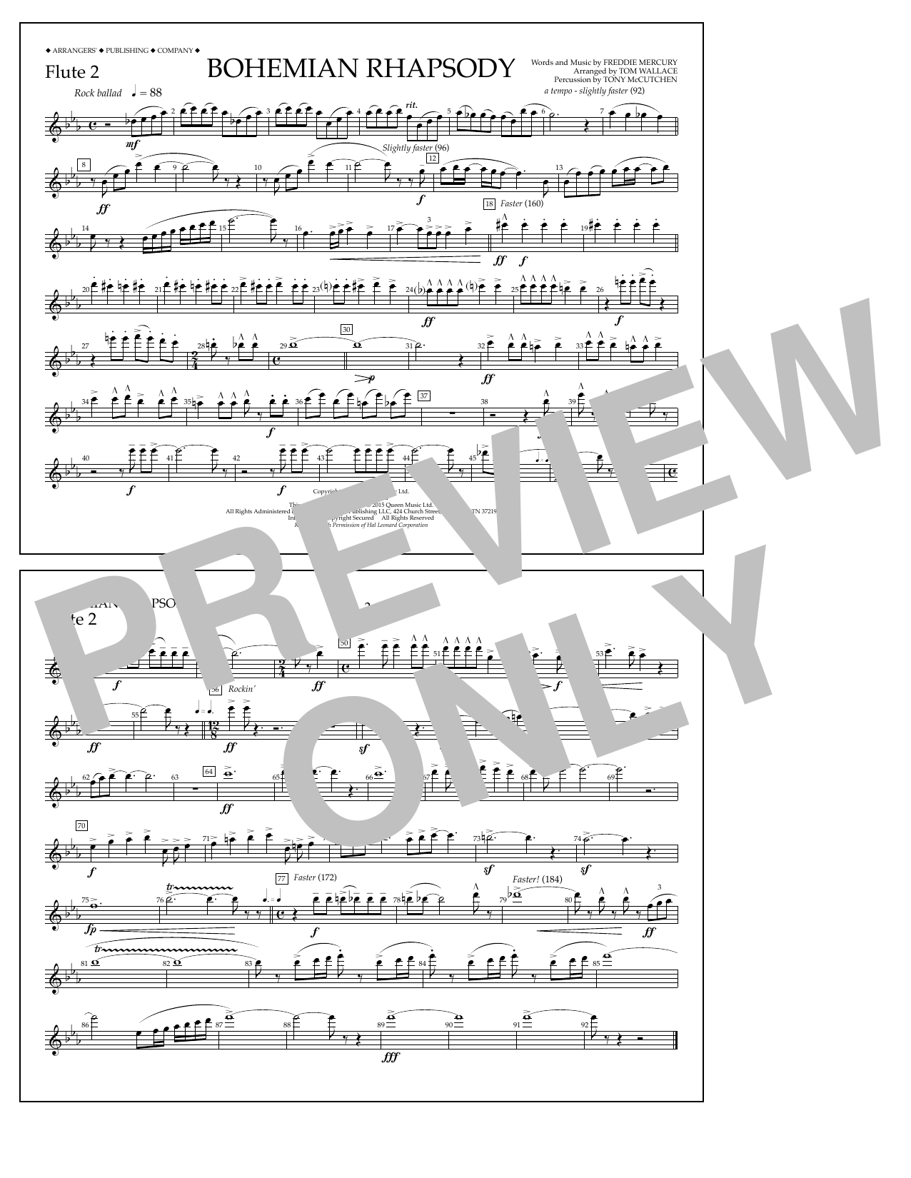Tom Wallace 'Bohemian Rhapsody - Flute 2' Sheet Music Notes, Chords |  Download Printable Marching Band - SKU: 337582