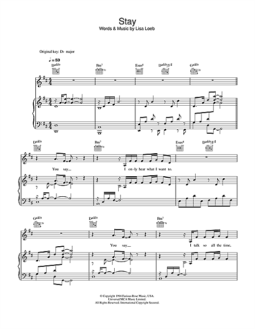 Lisa Loeb Stay I Missed You Sheet Music Notes Chords