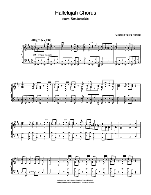 George Frideric Handel Hallelujah Chorus From The Messiah Sheet