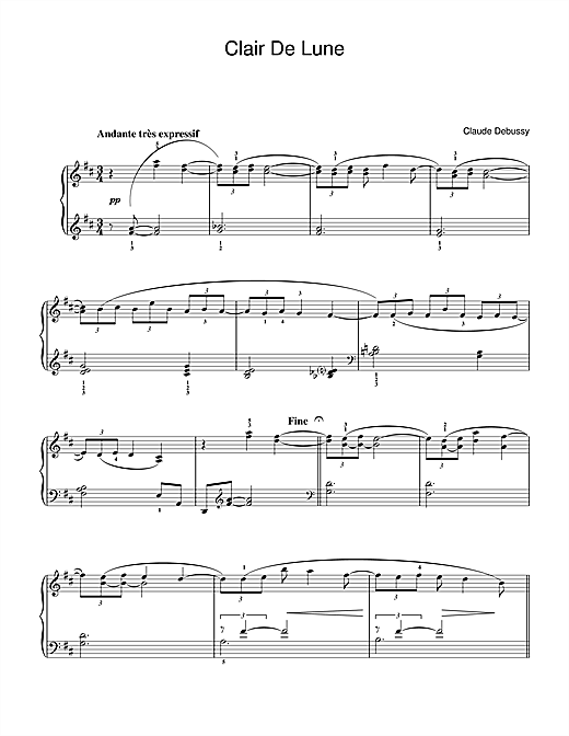 Claude Debussy Clair De Lune From Suite Bergamasque Sheet Music
