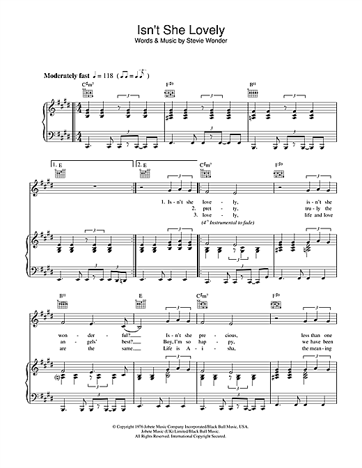 Stevie Wonder Isnt She Lovely Sheet Music Notes Chords