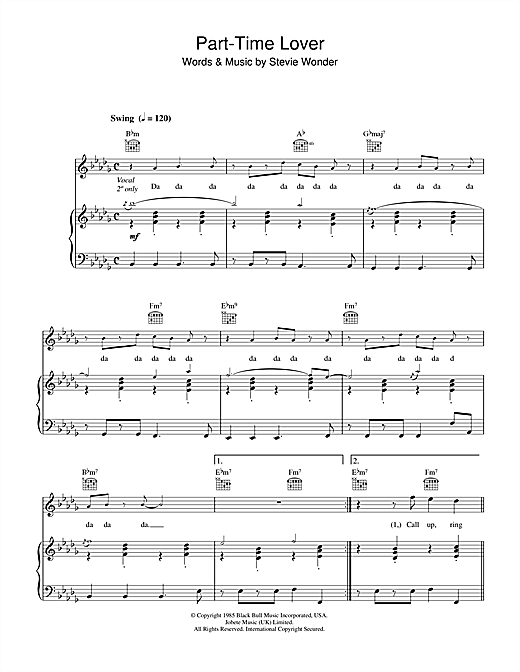 Stevie Wonder Part Time Lover Sheet Music Notes Chords
